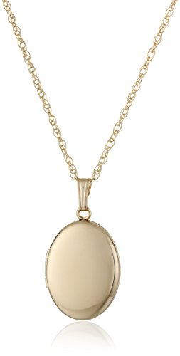 Yellow 14k Gold-Filled Polished Oval Locket Necklace, 18