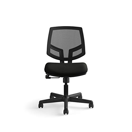 Locker Room Chair - The HON Company SB11.T HON Volt Task Mesh Back/Leather Seat Computer Chair for Office Desk (H5711), Black
