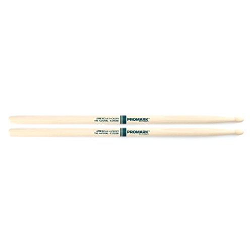 Promark TXR5BW American Hickory Natural Wood Tip, Single Pair, Unlacquered (Drumsticks 5b Wood Natural)
