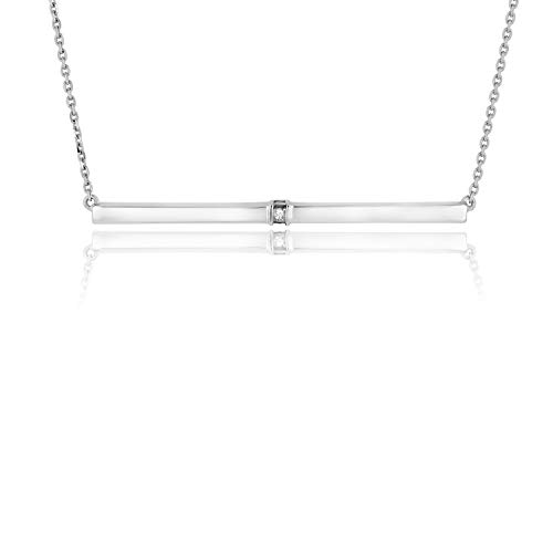 - IGL Certified 14K White Gold Diamond Horizontal Necklace with Diamonds