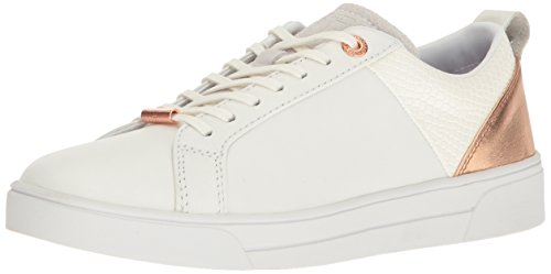 Ted Baker Women's Kulei Sneaker, White/Rose Gold Leather, 9 M US (Ted Sneakers Leather)