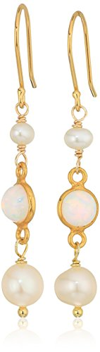 - Delicate Drop Earrings Featuring Opal Bezel Stones, White Freshwater Cultured Pearls and Gold Over Silver Drop Earrings