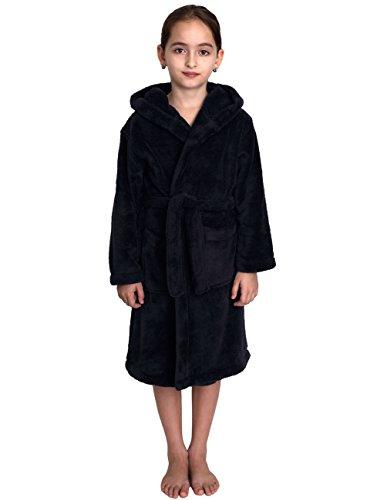 Price comparison product image TowelSelections Little Girls' Robe, Kids Plush Hooded Fleece Bathrobe Size 6 Navy