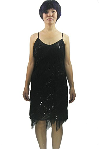 Ladies fringe latin salsa performance dancewear dress costumes outfits, Black, X-Small / Small ()