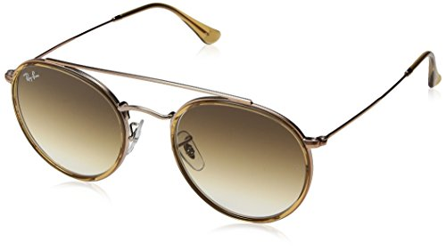 Ray-Ban RB3647N Round Double Bridge Sunglasses, Brown on Copper/Brown Gradient, 51 mm