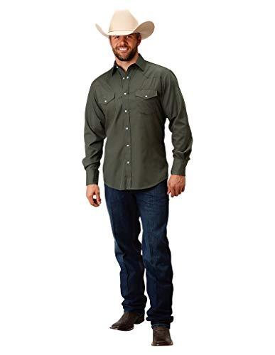 Roper Green - Roper Western Shirt Mens L/S Solid Snap L Olive 01-001-0025-0208 GR