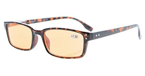 Eyekepper Classical Rectangular Frame Spring-Hinges Computer Reading Glasses Readers Eyeglasses (Tortoiseshell, Orange Tinted Lenses) +0.5