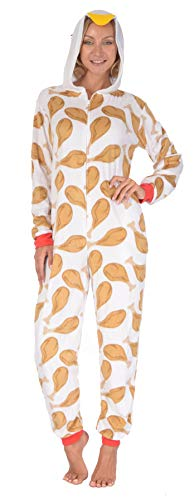 Body Candy Women's Plush Adult Animal Hood Onesie Pajama (Rooster, Large)