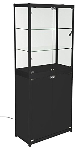 Displays2go, Portable Glass Retail Cabinet with Doors, Aluminum & Tempered Glass Construction – Black Finish (2TCBLKLS) by Displays2go