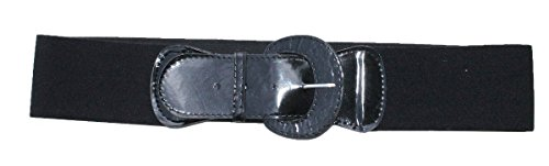 Funfash Plus Size New Black Patent Leather Buckle Stretchy Elastic Belt 2X (Stretch Patent Buckle Belt)