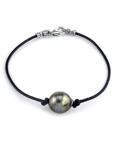 10mm Tahitian Baroque Cultured Pearl Leather Bracelet - AAAA Quality by The Pearl Source