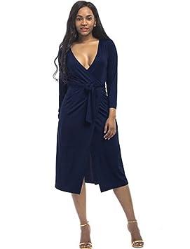 ASGHILL Boho tallas grandes vestido de las mujeres con cuello en v vestido vintage con mangas