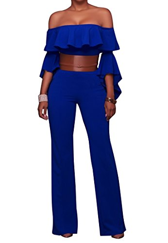 Blue One Piece Outfit - FairBeauty Women Casual Sexy Strapless High Waist Long Pant Wide Leg Ruffle Party Lace Jumpsuit Romper With Belt, Blue, Medium