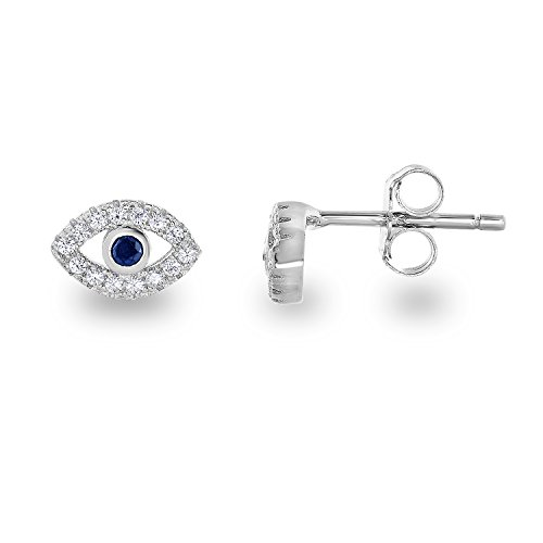 925 Sterling Silver Rhodium Plated Cubic Zirconia Mini Evil Eye Jewish Post Stud Earrings