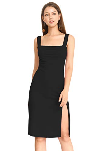 MQGIOEA Women's Sexy Solid Square Neck Sleeveless Bodycon Midi Spaghetti Pencil Dress with Side Split (Black 028, - Neck Sheath Square Dress