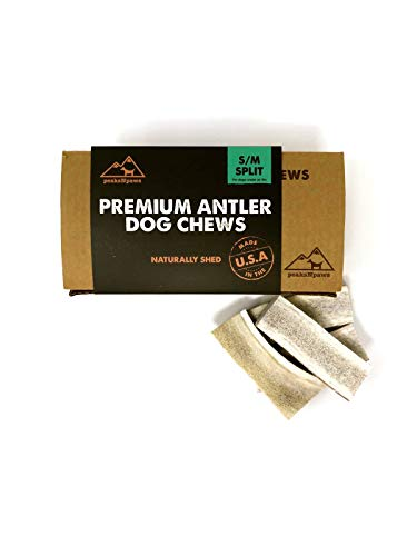 peaksNpaws Premium All-Natural Grade A Split Elk Antlers for Dogs - Naturally Shed in The Rocky Mountains - No Additives, No Preservatives - Healthy and Delicious Treat - Made in ()