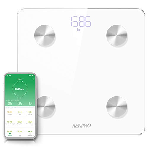 RENPHO Smart Body Fat Scale Bluetooth Digital Bathroom Scales Wireless Weight Scale BMI Scale Body Fat Monitor with Smartphone App 396 lbs - White ()