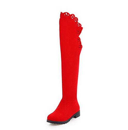 Unie Métal Suédé Bottes Voguezone009 Bas Rouge Couleur À Rond Zip nrqqg0Wv4x