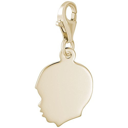 14k Yellow Gold Boys Head Charm With Lobster Claw Clasp, Charms for Bracelets and Necklaces