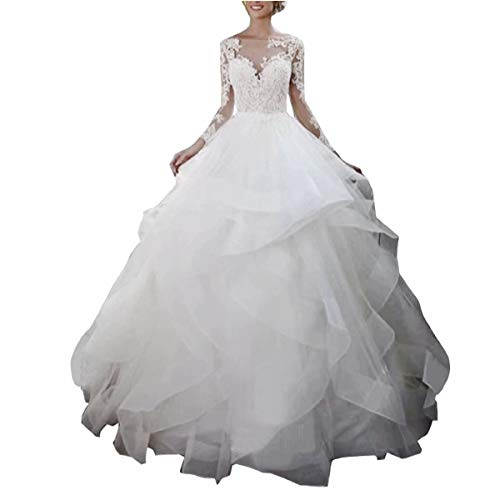 DingDingMail 2019 Ruffles Wedding Dress Bridal Gowns Illusion Long Sleeves Open Back Princess Ball Gown Wedding Dresses White