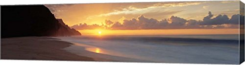 Kalalau Beach Sunset, Hawaii by Panoramic Images Canvas Art Wall Picture, Gallery Wrapped with Image Around Edge, 34 x 9 inches by Great Art Now