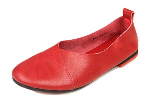 - Kunsto Women's Genuine Leather Comfort Glove Shoes Ballet Flat US Size 10 Wine Red