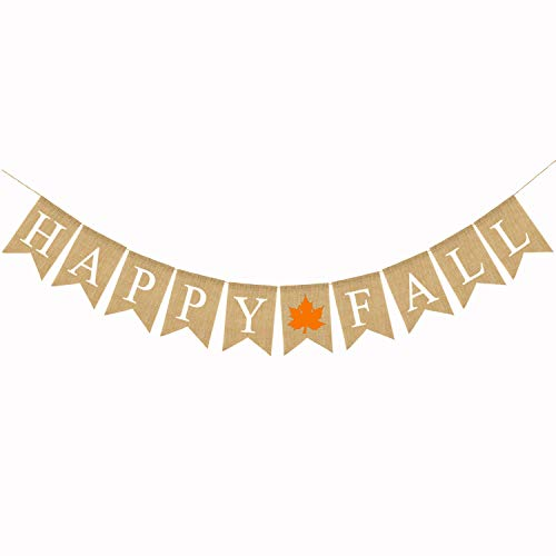 Happy Fall Thanksgiving Burlap Banner Maple Leaf Pumpkin Harvest Time Holiday Party Decor Garland Bunting Pre-Strung (Maple Leaf)