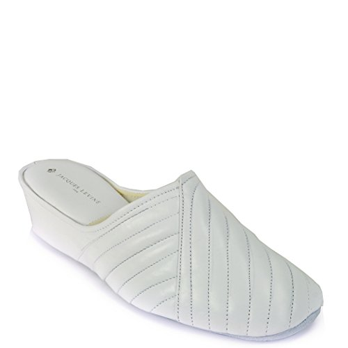 Jacques Levine #1221 Womens Leather Wedge Slipper 8.5AA,White