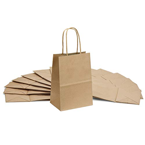 Halulu Brown Kraft Paper Bags - Gift Party Bags with handles - 25pc 5