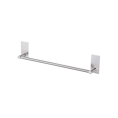 LuckIn 12 Inch Towel Bar Self Adhesive Towel Rod, Stick on Wall Hand Towel Hanger Brushed Nickel, Stainless Steel Single Towel Holder Door No Drill Hanging for Bathroom and Kitchen, TR0012SA