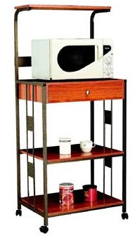 Light Oak / Maple Stain Rolling Kitchen Microwave Cart with Power Strip