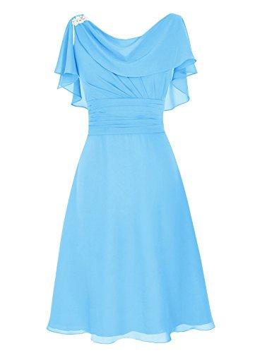 d'honneur Robe Robe Longueur demoidelle Genou au du Bleu Ras de Cou de mre marie de col Dresstells Sq80dS