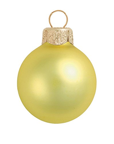 Soft Yellow Glass Ball Ornaments - 12ct Matte Soft Yellow Glass Ball Christmas Ornaments 2.75
