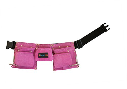 pink active kyds premium leather tool belt pouch with