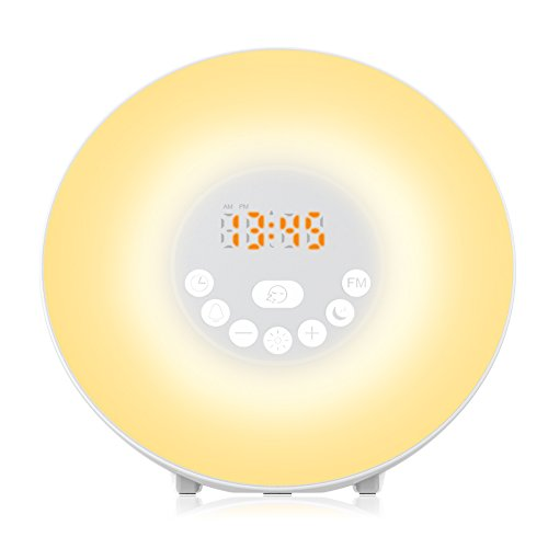 Alarm Clock, Monokuchi Sunrise Alarm Clock 6 Nature Sounds Alarm Clocks FM Radio Digital Clock Touch Control With USB Charger Wake up Light for Bedrooms