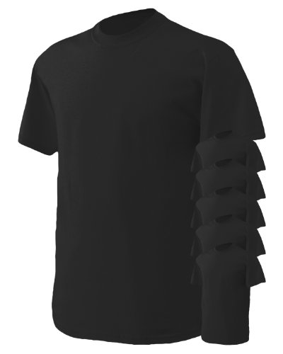 - Gildan Men's Heavy Cotton T-Shirt, Black, Large. (Pack of 6)