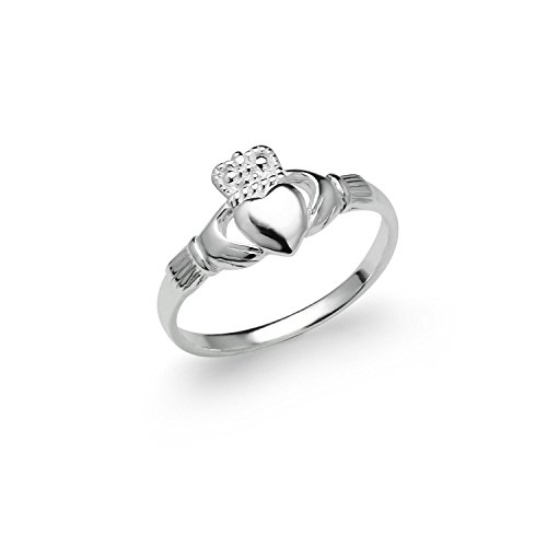 River Island Jewelry - Sterling Silver Irish Claddagh Friendship and Love Celtic Ring Ladies Women's Size 5 6 7 8 9 (7)