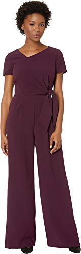 Tahari by ASL Women's Short Sleeve Crepe Jumpsuit with Asymmetrical Neckline Aubergine 10 ()