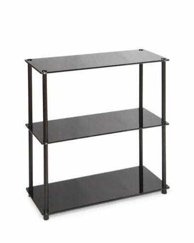 Convenience Concepts Designs2Go Midnight Classic 3-Shelf Glass Bookcase, Black Glass