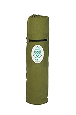 Natural Green Yoga Mat Bag by MyYogaTeam, Cotton Canvas Yoga Tote Bag, Lightweight Pilates Pad Carrier, Gym Bag, Workout Mat Holder For Travel, with Zipper Pocket for Yogic Accessories, Women & Men