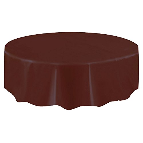 Round Brown Plastic Tablecloth, 84