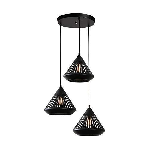 3 Light Modern Minimalist Chandeliers, Restaurant Light Creative Diamond Styling E27 Lamp Holder Metal Lampshade Fashion Pierced Engraved Pendant Lights Easy Installation,Roundbase