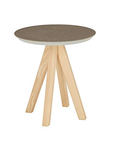 Mesa Redonda ASHLEY de 40 cm de diametro, 43,7 cm de altura, tablero de ceramica cendre y patas de fresno natural. Made in Italy.