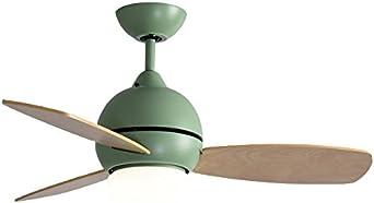 Simple Moderno Ventilador de techo Con Luz led bowl,Montaje cubierta rasante Ventilador eléctrico Para Sala de estar Restaurante sala de niños 3-blade Sola luz Ventilador de techo-verde: Amazon.es: Iluminación