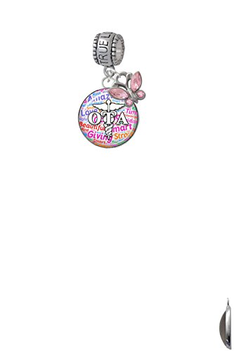 Domed Multi Color OTA True Love Waits Charm Hanger with Mini Pink Butterfly by Delight Jewelry (Image #3)