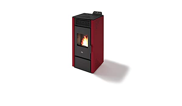 Estufa de Pellets de Eva Calor Paola 13 KW, Color Blanco y Rojo: Amazon.es: Hogar