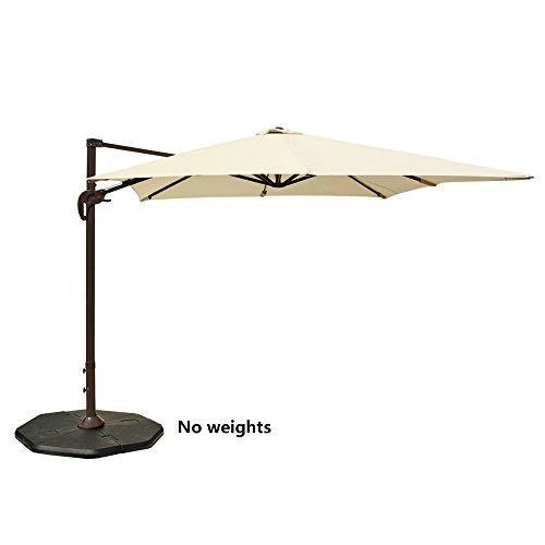 Le Papillon Cantilever umbrella Hanging Offset Patio umbrella Rectangular with Cross Base, Light Beige Side Post Patio Umbrellas