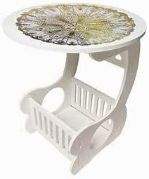 GABZ White Round Coffee Table with Decorative mat//Storage and style all in one great coffee table//Size 24 X 36 X 48