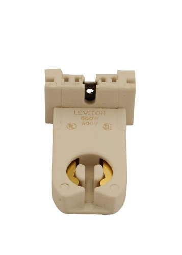 (Leviton 13359-N Medium Base, Bi-Pin, Standard Fluorescent Lampholder, Tall Profile, Slide-On, Turn-Type, Quick-Connect 18AWG Solid Or Str. Tinned, White)