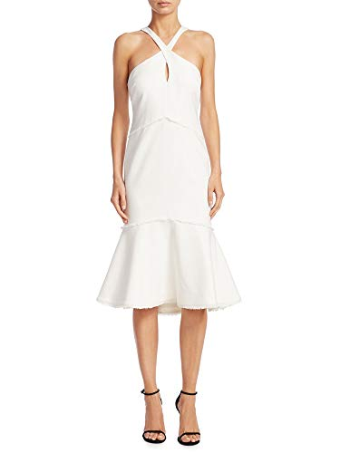 Cinq a Sept Dante Fit & Flare Keyhole Halter Dress Ivory (Cinq A Sept Evangeline Tulle Midi Dress)